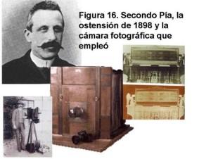 Фотограф Секондо Піа з камерою, якою сфотографував Плащаницю