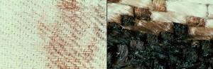 Мікрофотографії плям крові на полотні Плащаниці