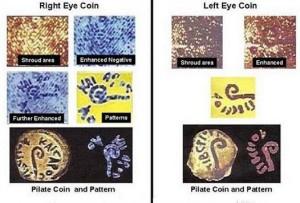 Монети на правому і лівому оці на Плащаниці