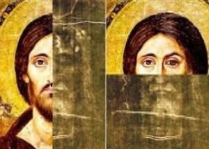 Порівняння обличчя з Плащаниці та ікони Христа 5 століття з монастиря святої Катерини на Синайському півострові