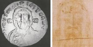 Схожість обличчя з Плащаниці і лиця Христа з візантійської монети