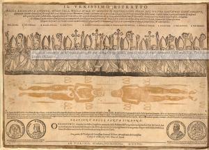 Сувенірна листівка для паломників з нагоди показу Туринської Плащаниці 1608 року
