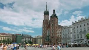Ринкова площа та центральний катедральний собор міста Краків