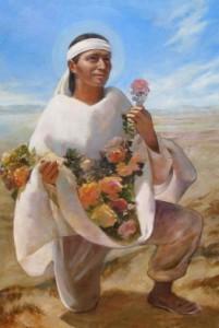 Індіанець несе троянди в полотні